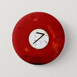 BILLIARDS BALL NUMBER 7 PINBACK BUTTON