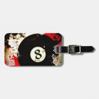 BILLIARDS BALL NUMBER 8 BAG TAG