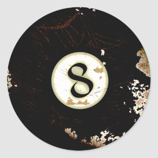 BILLIARDS BALL NUMBER 8 CLASSIC ROUND STICKER