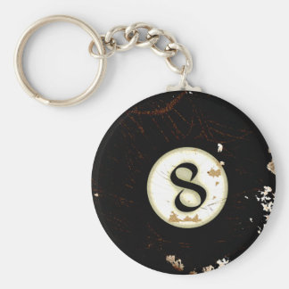BILLIARDS BALL NUMBER 8 KEYCHAIN