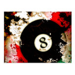 BILLIARDS BALL NUMBER 8 POST CARDS