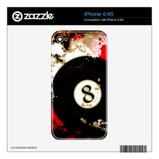 BILLIARDS BALL NUMBER 8 SKINS FOR THE iPhone 4