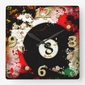 BILLIARDS BALL NUMBER 8 SQUARE WALL CLOCK
