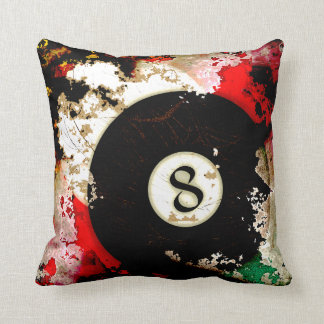 BILLIARDS BALL NUMBER 8 THROW PILLOW