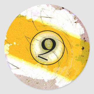 BILLIARDS BALL NUMBER 9 CLASSIC ROUND STICKER