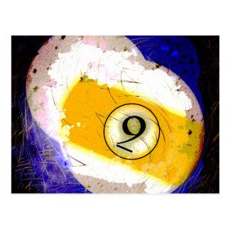 BILLIARDS BALL NUMBER 9 POSTCARD