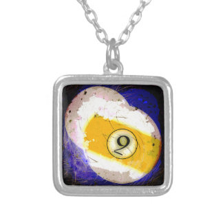 BILLIARDS BALL NUMBER 9 SILVER PLATED NECKLACE