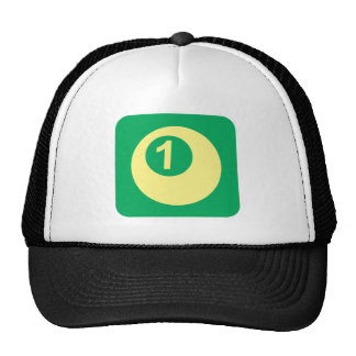 Billiards Ball Number One Logo Hats