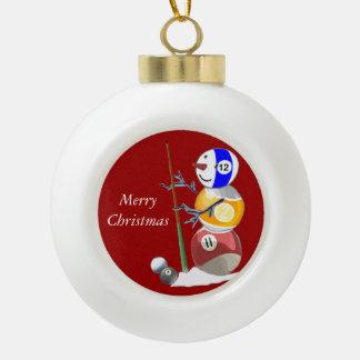 Billiards Ball Snowman Ceramic Ball Christmas Ornament