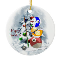 Billiards Ball Snowman Christmas Ceramic Ornament