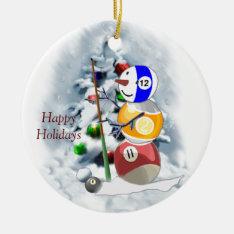Billiards Ball Snowman Christmas Ceramic Ornament at Zazzle
