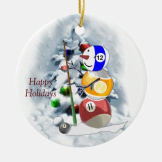 Billiards Ball Snowman Christmas Ceramic Ornament