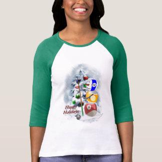 Billiards Ball Snowman Christmas T-shirt