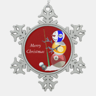 Billiards Ball Snowman Snowflake Pewter Christmas Ornament
