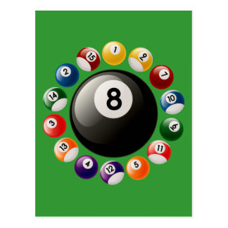 BILLIARDS BALLS POSTCARD