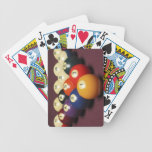"""Billiards Bicycle Playing Cards<br><div class=""""desc"""">Fifteen billiard balls arranged in triangle on pool table   Nathan Allred   AssetID: 128516090</div>"""