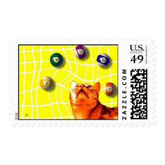 Billiards Cat Stamp