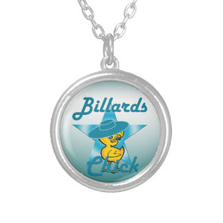 Billiards Chick #7 Silver Plated Necklace