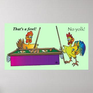Billiards Chicken Poster