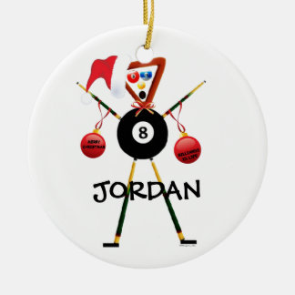Billiards Christmas Double-Sided Ceramic Round Christmas Ornament