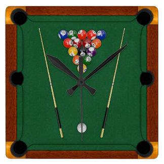 Billiards Square Wallclocks