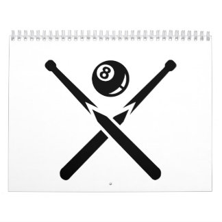 Billiards crossed cue eight ball calendar