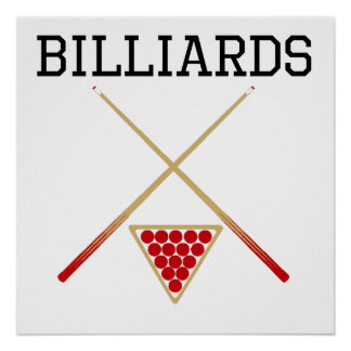 Billiards Cues And Triangle Poster