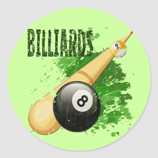 BILLIARDS - DISTRESSED AND AGED CLASSIC ROUND STICKER