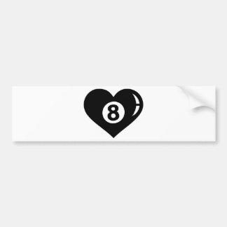 Billiards eight ball heart bumper sticker