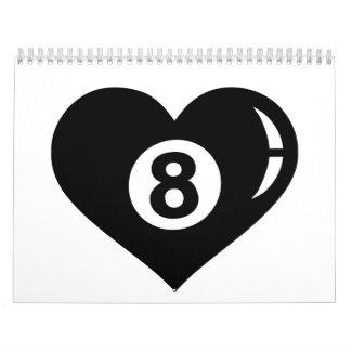 Billiards eight ball heart calendar