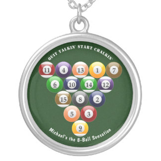 Billiards Eight-Ball Rack 8-Ball Pool Game Sporty Silver Plated Necklace
