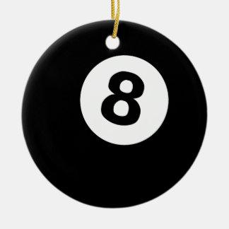 billiards eightball ceramic ornament