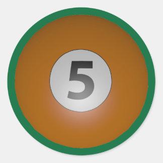 Billiards Five Ball Classic Round Sticker