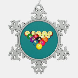 Billiards Full 8-Ball Rack Snowflake Pewter Christmas Ornament