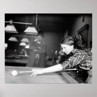 Billiards Game, 1910 Poster