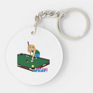 Billiards Girl Blonde Key Chain