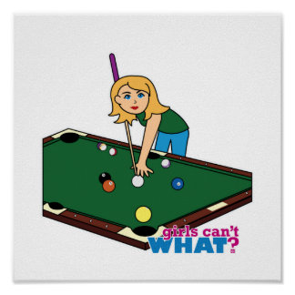 Billiards Girl Blonde Posters