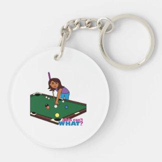 Billiards Girl Dark Keychain
