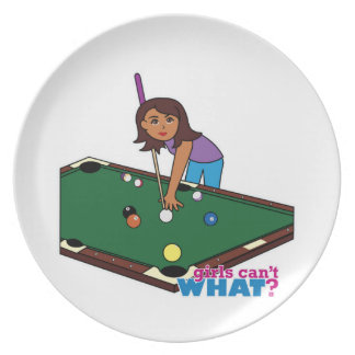 Billiards Girl Dark Party Plates