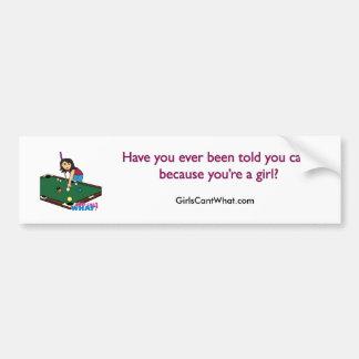 Billiards Girl Medium Bumper Sticker
