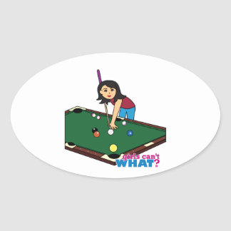 Billiards Girl Medium Oval Sticker