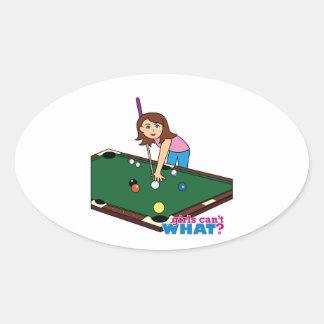 Billiards Girl Oval Sticker