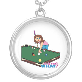 Billiards Girl Silver Plated Necklace