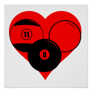 Billiards Heart Poster
