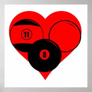 Billiards Heart Poster