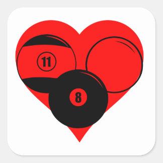 Billiards Heart Square Sticker