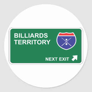 Billiards Next Exit Classic Round Sticker