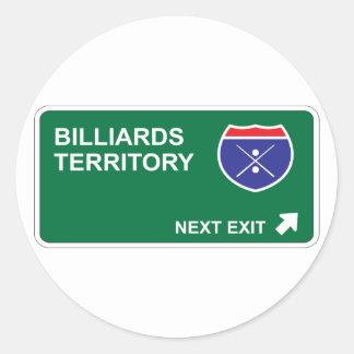 Billiards Next Exit Round Stickers
