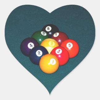 Billiards Nine Ball Heart Sticker