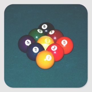 Billiards Nine Ball Square Sticker